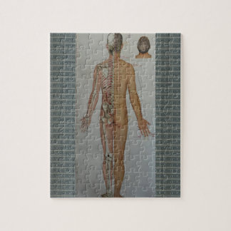 Chinese Doctor Back body acupuncture point map art Jigsaw Puzzle