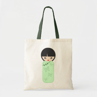 Chinese Doll in Green Tote Bag