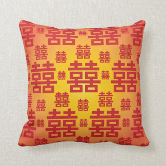 Chinese Double Happiness Good Fortune Wedding Cushion