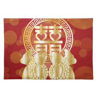 Chinese Double Happiness Koi Fish Red background Placemat