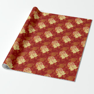 Chinese Double Happiness Koi Fish Red background Wrapping Paper
