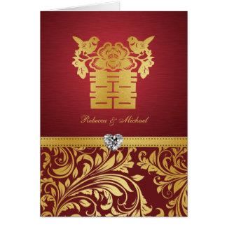 Chinese Double Happiness Love Birds Card