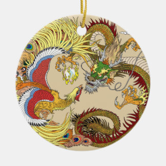 Chinese dragon and phoenix ceramic ornament