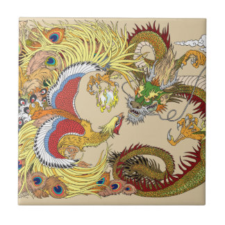Chinese dragon and phoenix ceramic tile