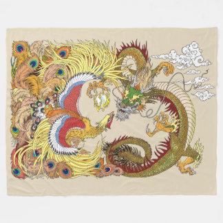 Chinese dragon and phoenix fleece blanket