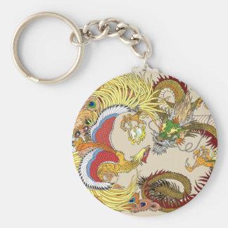 Chinese dragon and phoenix key ring