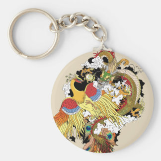 Chinese dragon and phoenix key ring