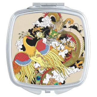 Chinese dragon and phoenix makeup mirrors