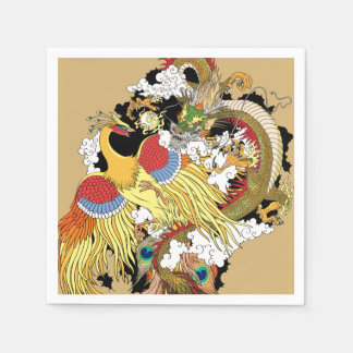 Chinese dragon and phoenix paper napkin