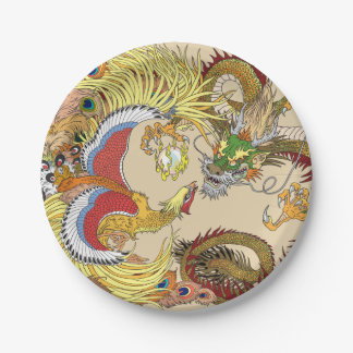 Chinese dragon and phoenix paper plate