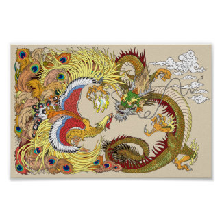 chinese dragon and phoenix poster