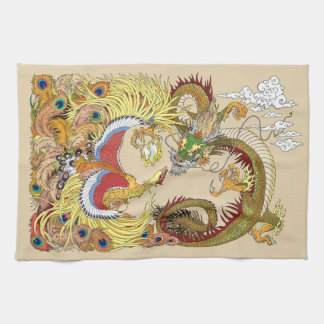 Chinese dragon and phoenix tea towel