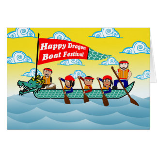 Chinese Dragon Boat Festival, Boat and Rowing Crew Card