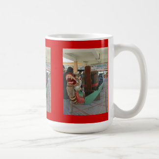 Chinese dragon boat classic white coffee mug