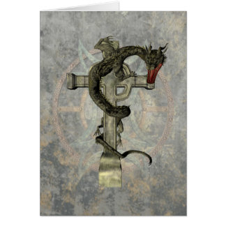 Chinese Dragon & Celtic Cross Card