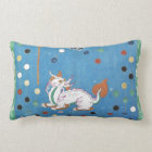 Chinese Dragon Colourful Dots Vintage Watercolor Lumbar Cushion