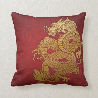 Chinese Dragon Gold and Red Cushion