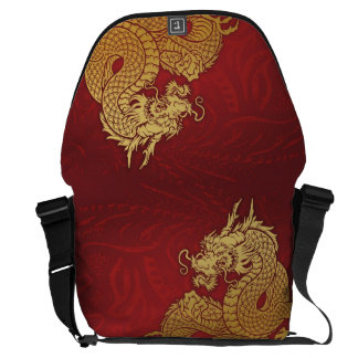 Chinese Dragon Red Gold Messenger Bags