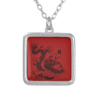 Chinese Dragon Silver Plated Necklace