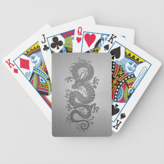 Chinese Dragon, Stainless Steel Effect Bicycle Poker Cards