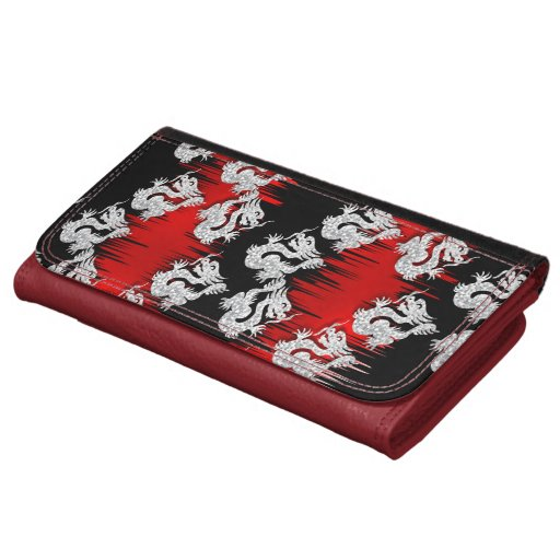Chinese Dragon Themed Red Black Mix Print Women's Wallet