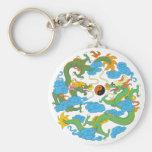 Chinese Dragon Yin Yang Basic Round Button Key Ring