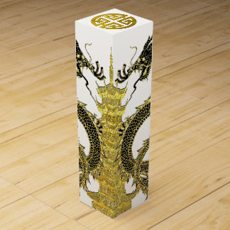 Chinese Dragons Pagoda Prosperity Wine Gift Box