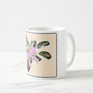 Chinese Evergreen plant pink bow decor mug. Coffee Mug