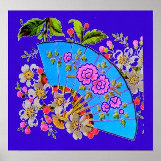 Chinese Fan Blue small gloss finish Poster