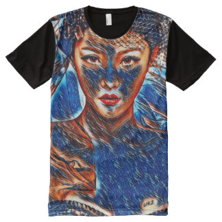 Chinese Female Dragon Lady Fantasy Acrylic Art All-Over Print T-Shirt