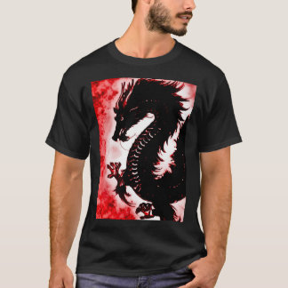 Chinese Fire Dragon Fantasy Art Nouveau T-Shirt