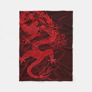 Chinese Fire Dragon Fleece Blanket
