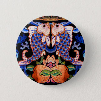 Chinese Fish Embroidery 6 Cm Round Badge