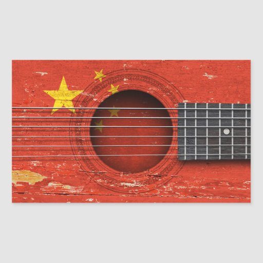 Chinese Flag on Old Acoustic Guitar Rectangle Stickers