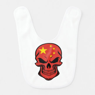 Chinese Flag Skull Bib
