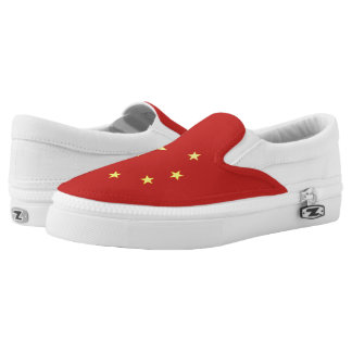 Chinese flag slip on shoes
