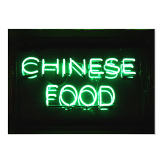 CHINESE FOOD - Green Neon Sign 13 Cm X 18 Cm Invitation Card