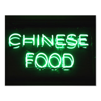 CHINESE FOOD - Green Neon Sign 11 Cm X 14 Cm Invitation Card