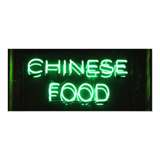 CHINESE FOOD - Green Neon Sign 10 Cm X 24 Cm Invitation Card