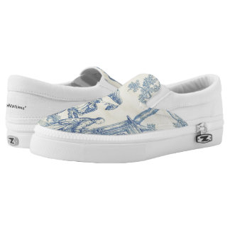 Chinese Garden Blue and White Toile Printed Shoes