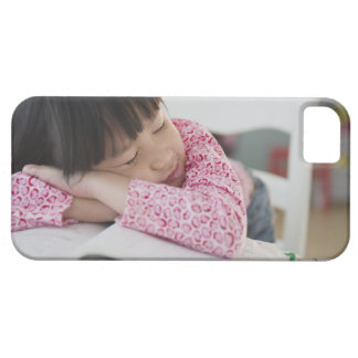 Chinese girl napping on textbooks iPhone 5 cases