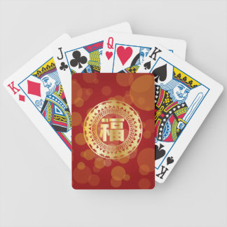 Chinese Good Fortune Text Abstract Bats Red Bicycle Playing Cards