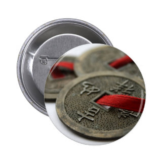 Chinese Good Luck Coins 6 Cm Round Badge