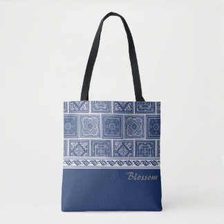Chinese Indigo Patterns Tote Bag