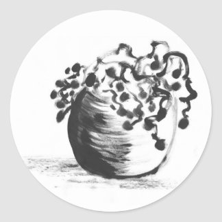 Chinese Ink Brush Potted Plant Stickers