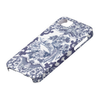 Chinese inspired blue pattern with birds toile barely there iPhone 5 case