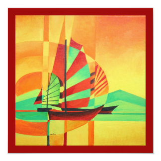 Chinese Junks Sail to Shore 13 Cm X 13 Cm Square Invitation Card