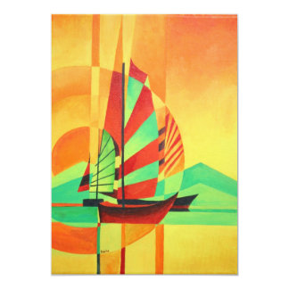 Chinese Junks Sail to Shore 13 Cm X 18 Cm Invitation Card