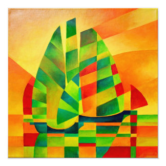Chinese Junks, Sunset, Sails and Shadows 13 Cm X 13 Cm Square Invitation Card