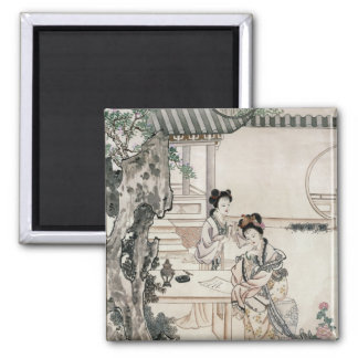 Chinese ladies in a garden magnet